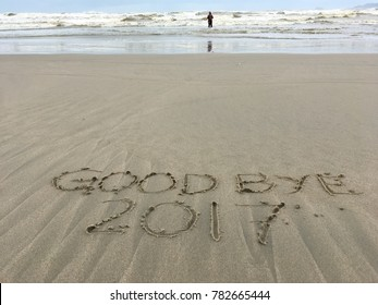 Good bye 2017 on sand with unique pattern