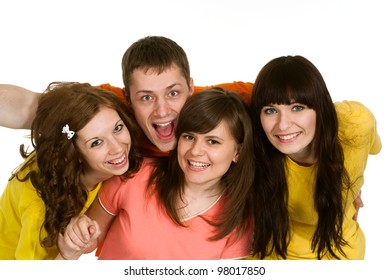 Good Caucasian brilliant campaign of four people fool around on a white background