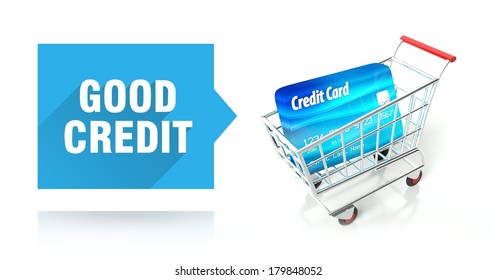 Good credit score concept with shopping cart