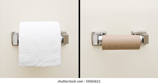 Good day, bad day concept of full and empty bathroom tissue roll