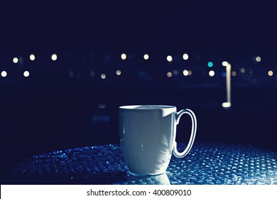 Black Coffee Mug Rain Bokeh Vector Stock Vector Royalty Free