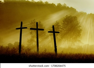 Good Friday concept: Tomb empty with cross on sunset background