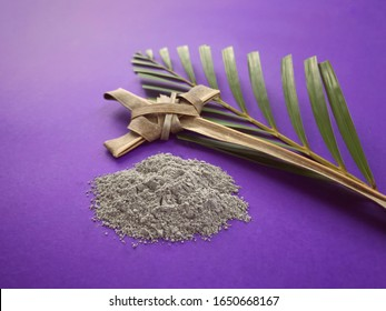 Good Friday, Palm Sunday, Ash Wednesday, Lent Season and Holy Week concept.  Christian crosses made of palm leaves and ashes on purple background.