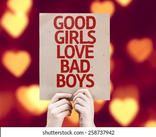 Good Girls Love Bad Boys card with heart bokeh background