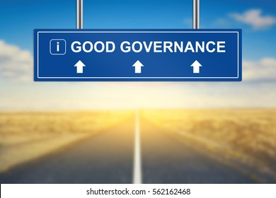 good governance words on blue road sign with blurred background
