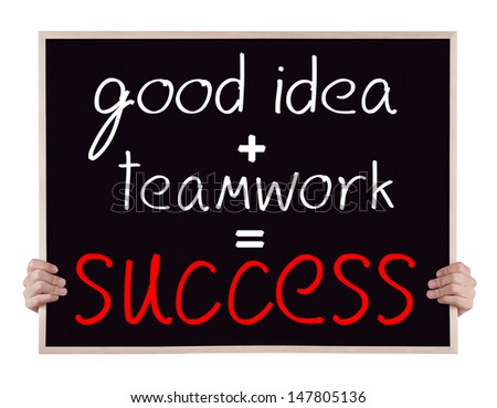 Good Idea Plus Teamwork Plan Equivalent To Success On Blackboard With Hands