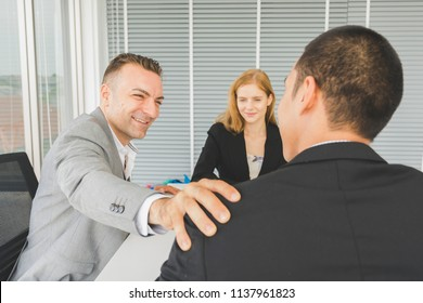 Meet and greet images stock photos vectors shutterstock good job and successful cheerful team leader or businessman or manager shaking hands while their m4hsunfo