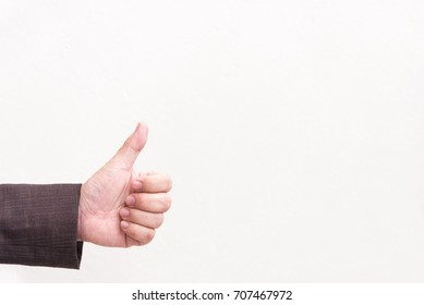 Good, like sign business human hand with thumb up in front of white background