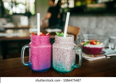 Good looked and tasty smoothies. Tropical vibes and summer mood. Healthy food