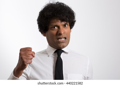 Good looking Asian Indian on a white background, business concepts