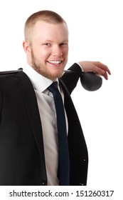 Good looking business golfer wearing a suit and tie, standing with a golf club. White background.
