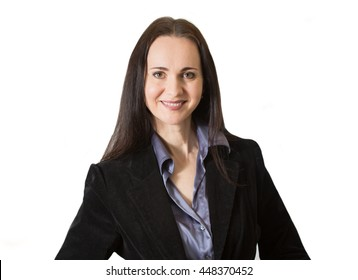 Good looking business woman portrait against of white background