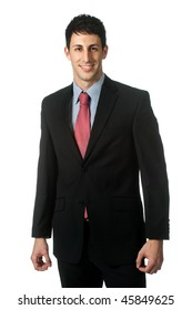 A good looking businessman standing against white background