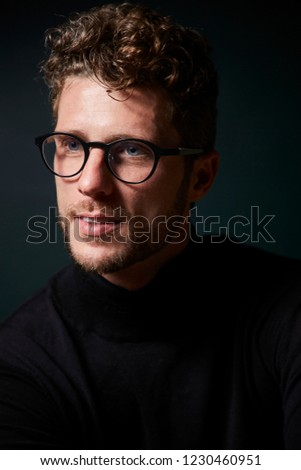 1c5e5dbd347 Good Looking Guy Glasses Looking Away Stock Photo (Edit Now ...