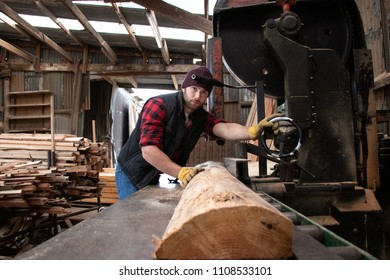 Good looking man, lumberjack, in chequered shirt pushes log through band saw in wood, saw mill