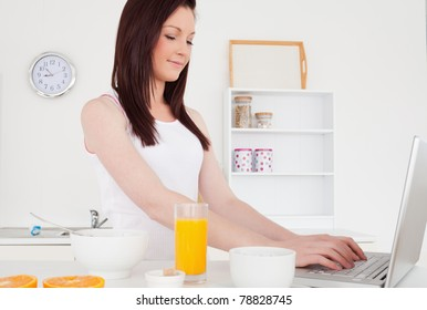 Good looking red-haired female relaxing with her laptop in the kitchen in her apartment