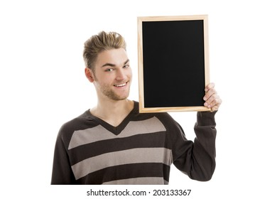 Good looking young man holding a chalkboard