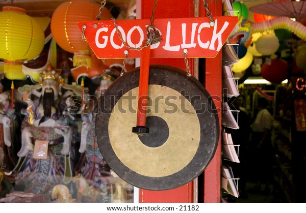 Good luck gong, Chinatown, Los Angeles, California
