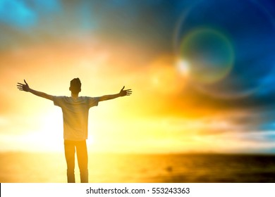Good men thought positive and motives spirit emotional on holiday mountain. Christian reborn to worship praise God for wellbeing up in bible vision and hope to mission victory success on cross peace.