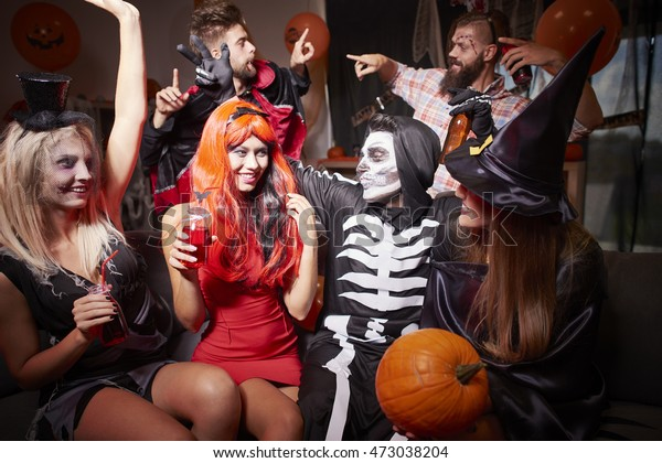 In good moods at halloween party