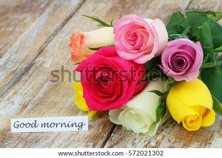 Good Morning Card Colorful Rose Bouquet Stock Photo Edit Now