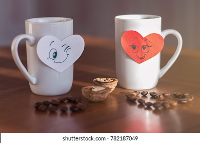 Good morning coffee on valentine's day with two smiling hearts