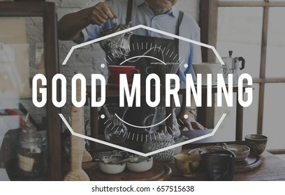 Good Morning Coffee Refresh Word Stamp Banner Graphic