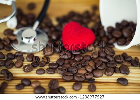 good morning coffee time coffee to go and beans on a wooden background