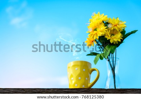 Good Morning Coffee Yellow Flower Vase Stock Photo Edit Now