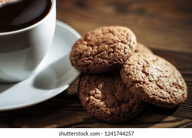 Good morning concept - breakfast espresso coffee accompanied by delicious biscuits.