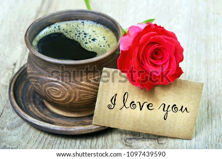 Good Morning Cup Coffee Red Rose Stock Photo Edit Now 1097439590