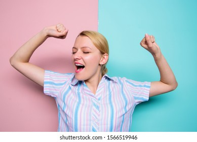 Good morning. Exercises to maintain vivacity. Stretch and do exercises to increase vivacity. Energy charge. Woman yawning face. Girl stretching hands while yawning. Slept well. Yawning woman.