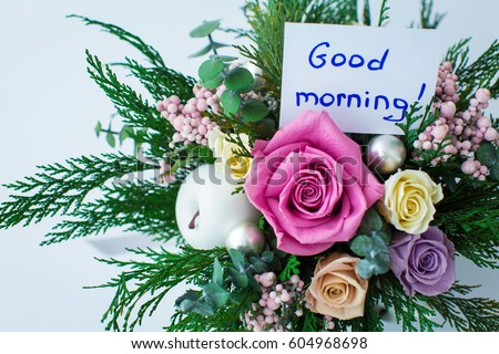 Good Morning Greeting Beautiful Bouquet Flowers Stock Photo Edit