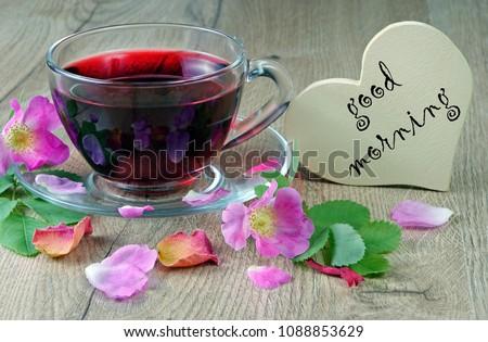 Good Morning Hibiscus Tea Wild Roses Stock Photo Edit Now