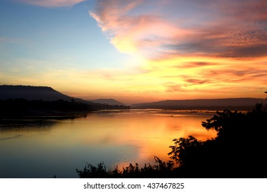 Good Morning Mae Khong river, border of Thailand and Laos, Twilight sky background