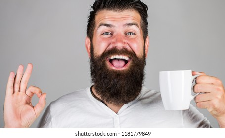 Good morning, man tea, ok. Smiling hipster man with cup of fresh coffee, Happy man showing ok sign. Morning concept. Handsome bearded male holds cup of coffee, tea. Bearded man smiling showing sign ok