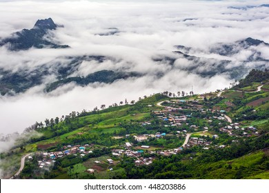 Good morning mist wave on mountain Phu Thap Boek Thailand