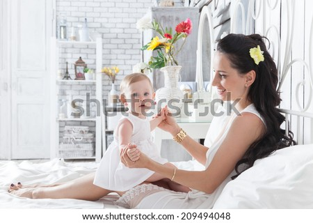 Good Morning Mother Playing Yearold Daughter Stock Photo Edit Now