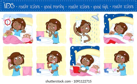 Good morning and good night - Daily routine actions of a little black girl with dark brown hair - Set of eight lovely cartoon illustrations