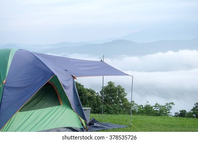 Good morning With overnight tent and woke up early to see the fog.