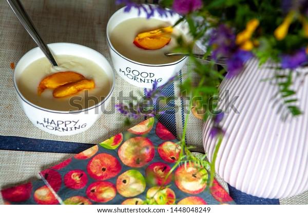 Good Morning Porridge Flowers Kitchen Stock Photo Edit Now 1448048249