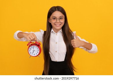good morning. punctuality. last chance. thumb up. punctual teen girl checking time.