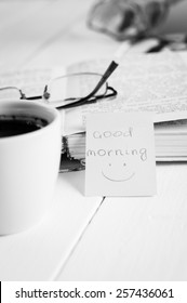 good morning with smile and cup coffe.
