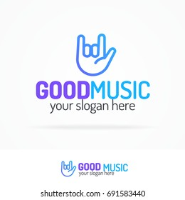 Good music logo set modern color style with hand on white background for use music store, sound company, audio system shop, dj market etc.