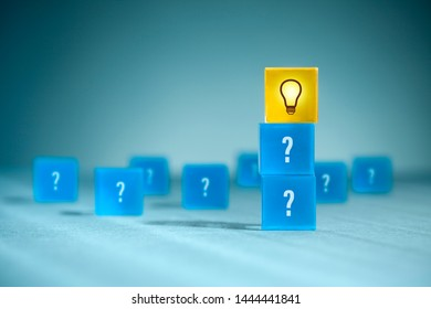 From good questions to perfect idea. Creative process concept and problem solution.