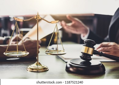 Good service cooperation, Consultation of Businessman and Male lawyer or judge counselor having team meeting with client, Law and Legal services concept.