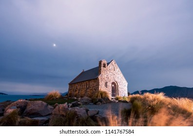 Good Shepherd's Church at night, wonderful New Zealand