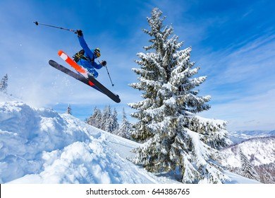 good skiing in the snowy mountains, Carpathians, Ukraine, good winter day, incredible ski jump