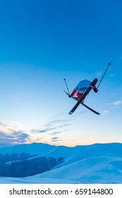 good skiing in the snowy mountains, Carpathians, Ukraine, incredible ski jump