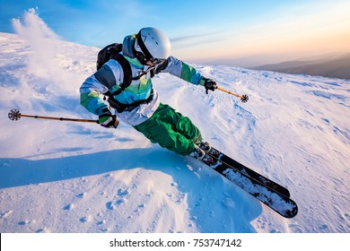 good skiing in the snowy mountains, Carpathians, Ukraine, nice winter day